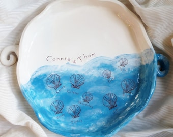 Holiday Gift, Gift Gift, Personalized, Wedding Gifts Couple, Personalized Platter, Pottery, Ocean, Sea, Sea shell, 9th Anniversary