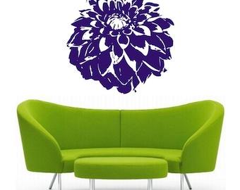Dahlia Flower, vinyl Wall DECAL Art, sticker art, room, home and business decor