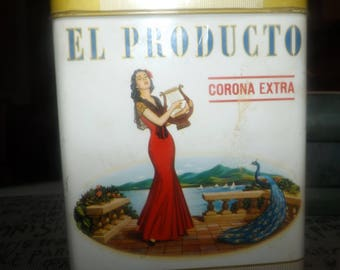 Mid-century (c.1950s) El Producto Corona Extra 50-cigar (empty) lidded tin.  Simon Cigar Co. Montreal, Quebec, Canada.