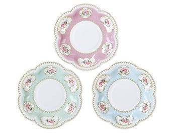 Truly Chintz floral plates 12 pack with 3 designs canape small Birthday Party Wedding  sc 1 st  Etsy : chintz dinnerware - pezcame.com