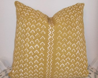Mustard  Yellow African mudcloth white details mud cloth cloth pillow cover
