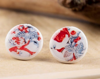 FLORAL STUDS - Rowan Studs - Shabby Chic Earrings - Small Stud - Small Stud Earrings - Red Blue Earrings - Red Flower Studs by Candy Fox