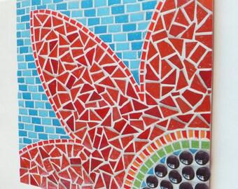 Red flower mosaic, Mixed Media Wall Art,