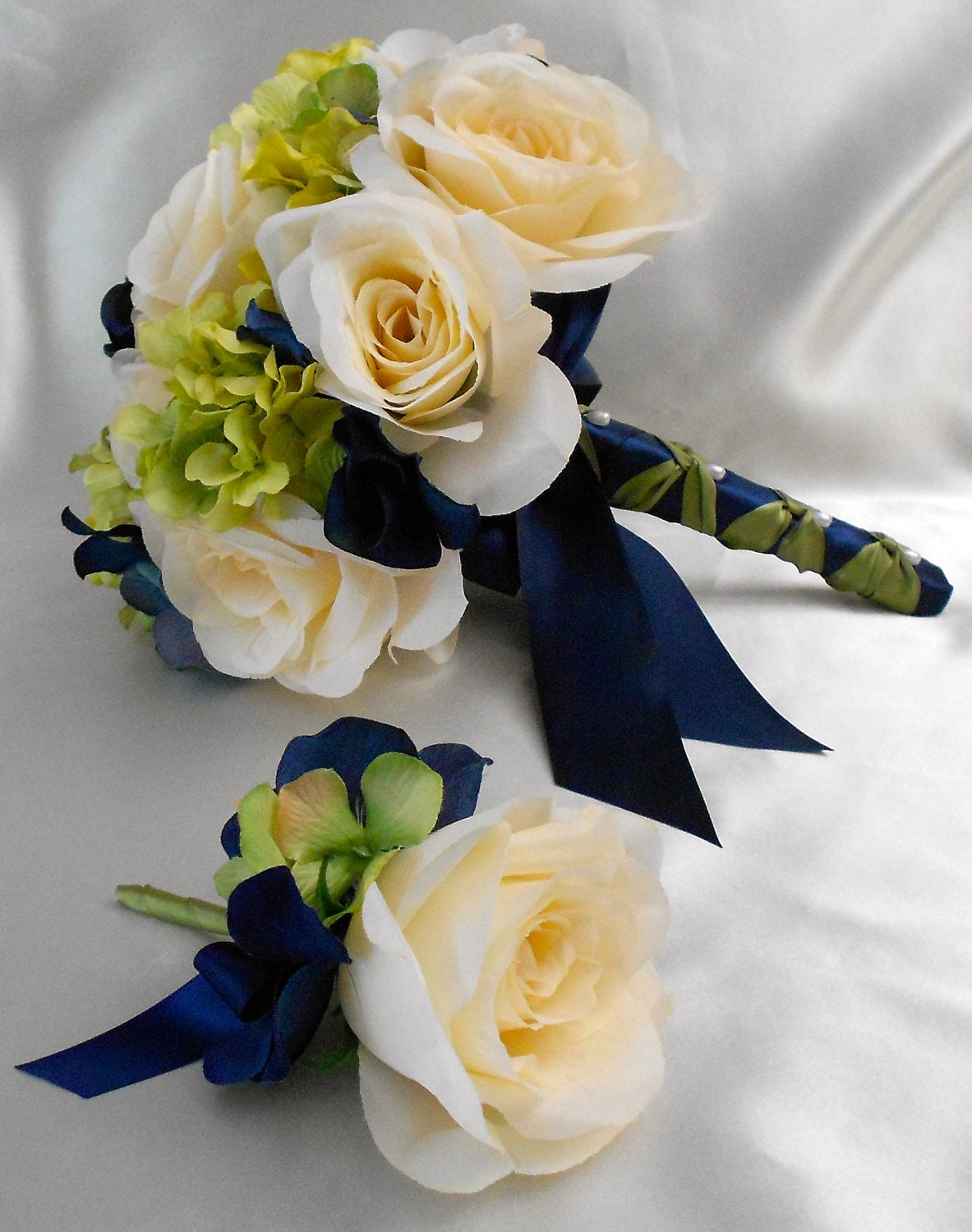Wedding Bridal Bouquet Your Colors 2 pieces Navy Blue Green