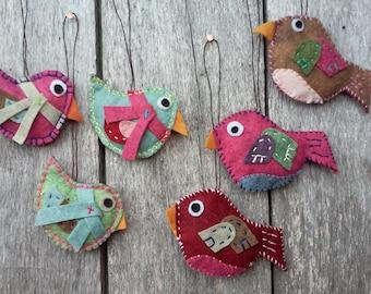 Six Felt Bird Decorations