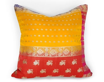 Boho Pillow, Sari Pillows, Colorful Pillow Cover, Bohemian Pillows, Orange Red Green Pillow, Vintage Silk, Eastern Decor, 12x20, 20x20, NEW