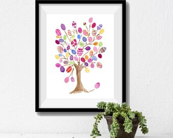 Easter tree art print, Easter eggs on tree print, fun Easter print, Nursery art, Kids room, colorful art print, watercolor print, Easter art
