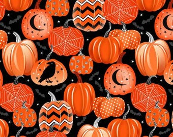 Halloween Fabric, Fangtastic, Orange Pumpkins, Pumpkin Fabric, Glow in the Dark Halloween Fabric, by Henry Glass 1097-93