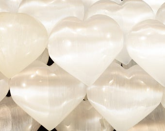 White Selenite Heart Crystal 2 1/2 Inch 4-7 Oz Polished Crown Chakra Rocks And Mineral Specimen Healing Crystals Chakra Stones Gemstone