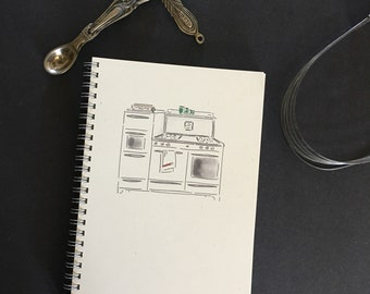 "Menu Planner, spiral bound menu planner, 5 1/2""  x  8 1/2""; 52 weeks,  hand drawn vintage stove"