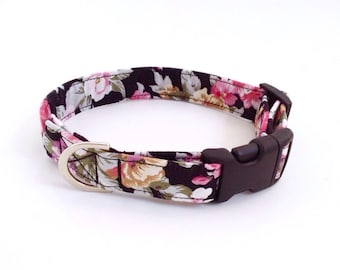 Black Floral Dog Collar | Girl Dog Collar | Floral Dog Collar | Puppy Collar | Dog Collar | Small Dog Collar | Large Dog Collar |