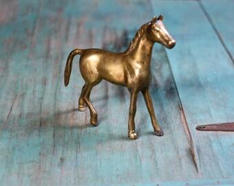 Standing Brass Horse, Brass Horse Figurine, Vintage Brass Figurine, Brass Horse, Horse Decor, Vintage Brass, Brass Animal