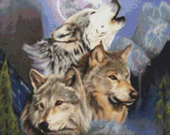 Wolf Cross Stitch, April Rafko, 'Wolves' Counted Cross Stitch, Cross Stitch Kit, DMC Materials, Wolf Needlecraft Set
