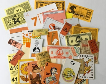 Mini Scrap Pack / 35 pc. Vintage Orange & Yellow Paper Ephemera Pack for Collage, Altered ARt