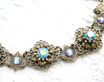 Light Sapphire AB Swarovski Crystal Bracelet in Antiqued Brass Vintage Victorian Style Bracelet- Morning Glory Designs