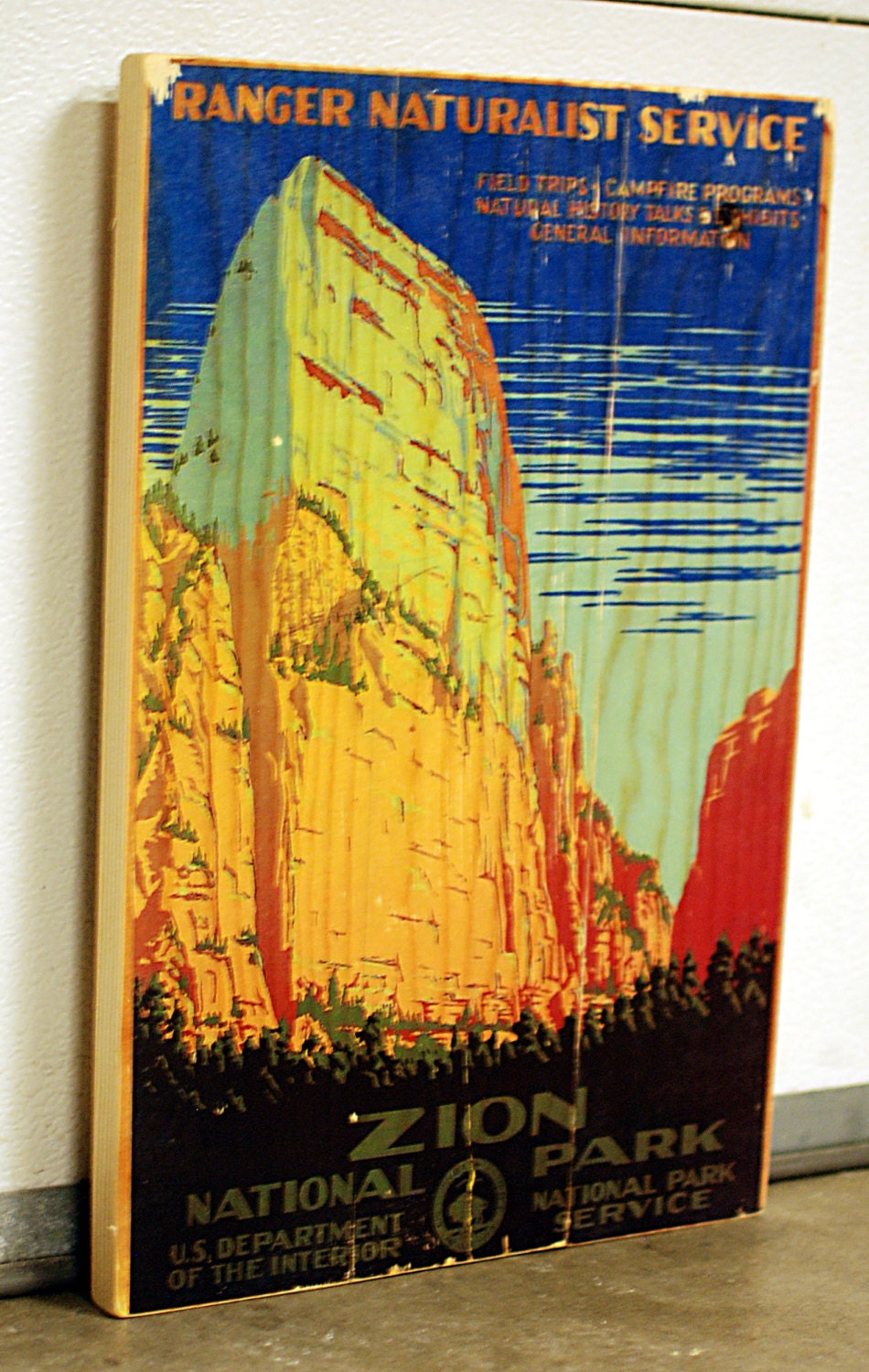 Vintage Zion National Park Poster Wall Art on Solid Wood Boards ...