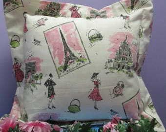 Pillow Cover Ladies in Paris-FREE SHIPPING