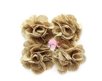 "Petite Natural Burlap Flowers- 1.5"" Burlap Flower- You Choose Quantity- Fabric Flower- Flowers- Small Burlap Flower- Puff Flowers"