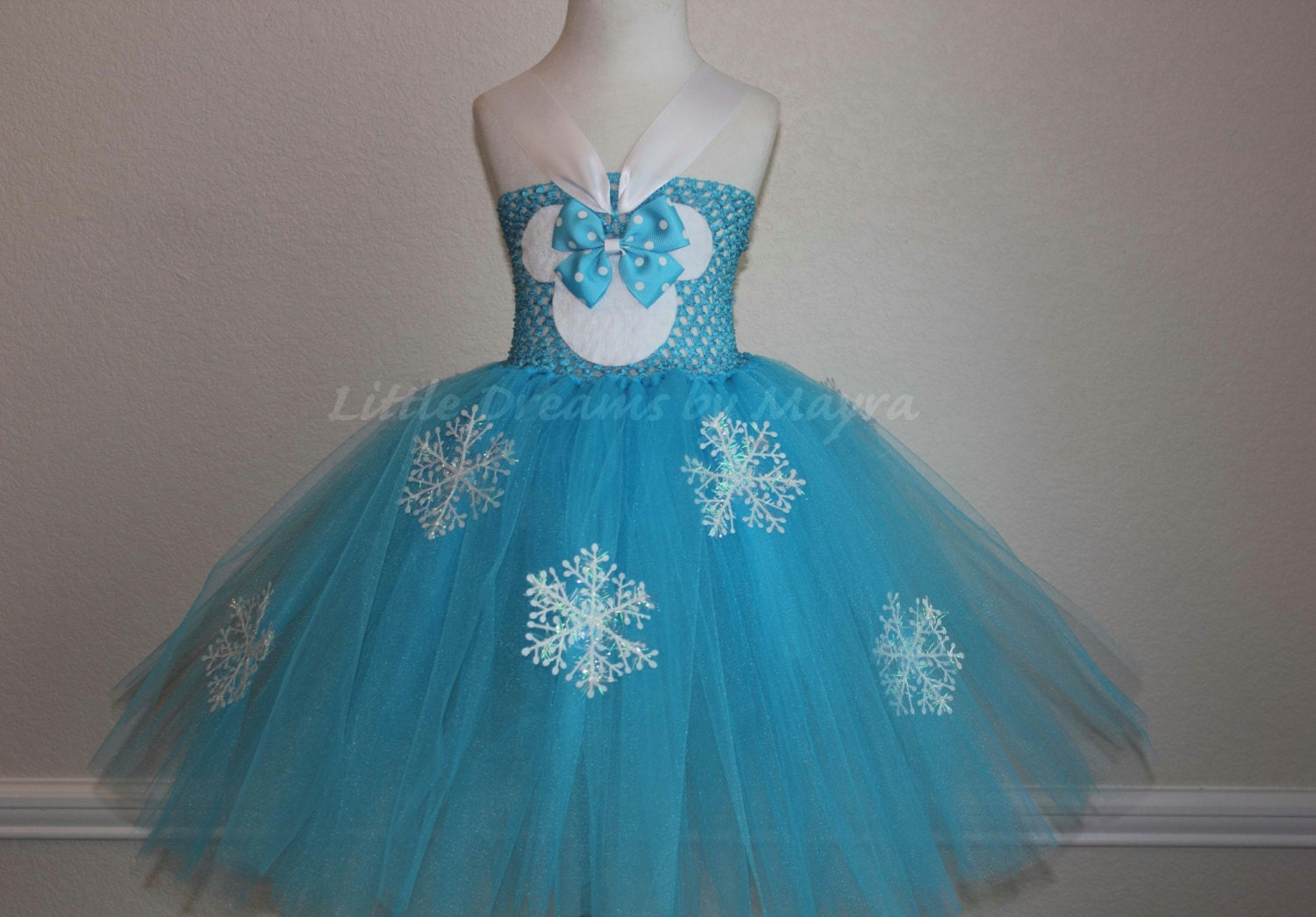 Frozen Minnie mouse inspired tutu dress and ears headband