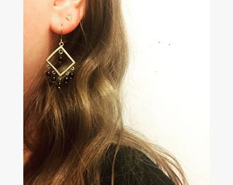 Earrings / / diamond / / brass