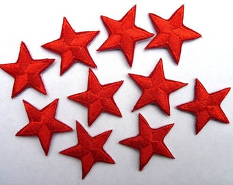Red star patches > applique > Pack of 3 or 10 > Iron-on or sew-on > very pretty!