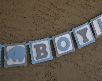 """Elephant Baby Shower Banner , It""""s A Boy,  Blue , White and Grey, New Baby, Party Banner, New Baby Celebration.Baby Boy"""