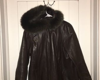 Chocolate Leather Fur Hooded Jacket