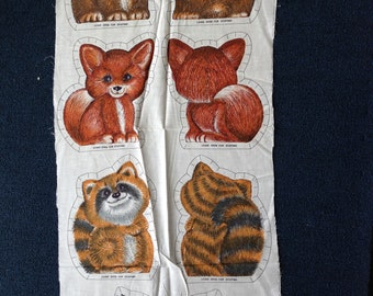Forest Friends Baby Bear, Raccoon, Fox and Rabbit - Sewing Fabric Panel