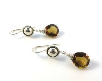 Large Brown Gemstone Earrings, Faceted Quartz, Sterling Silver, Modern Dangle Earrings, Wire Wrapped Briolette, Fancy Fashion Earrings