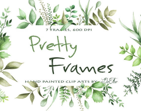 Watercolor greenery clipart frame leaf leaves clipart vector for Watercolor greenery