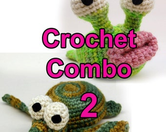 Crochet Garden Slug and Baby Sea Turtle Amigurumi Plush Toy Pattern Download PDF