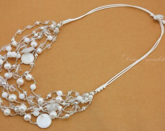 White freshwater pearl,shell,crystal necklace.