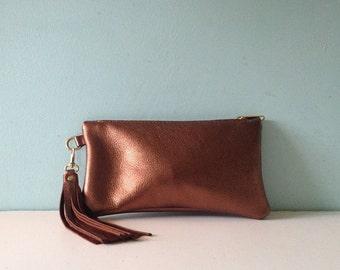 Bronze leather clutch bag, metallic zipped purse, make up bag, pencil case