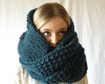 Knit Infinity Snood Scarf Oversized Chunky Denim Blue