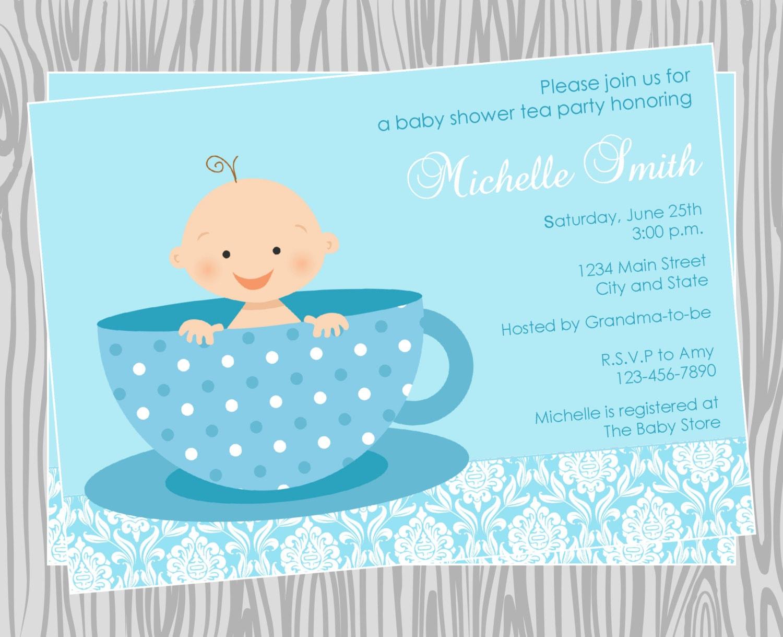 Baby Shower Boy Invitations Diy ~ Diy baby boy tea party shower invitation coordinating