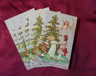 Vintage Victorian Christmas Postcards / Angel / Dancing Children