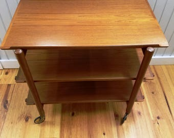 Mid Century Modern Era Solid Teak Rolling 3 Tier Bar Cart, All 3 Shelves Removable, ca 1950s