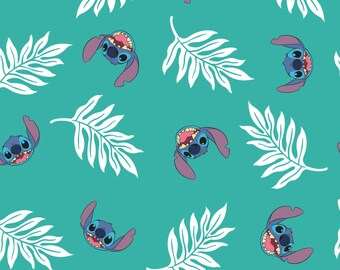 Disney Fabric Lilo and Stitch Fabric Palm Leaves in Turquoise From Camelot 100% Cotton