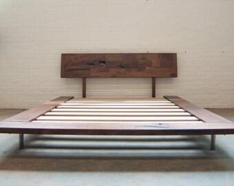 FREE SHIPPING Solid Wood Platform Frame Bed - Walnut