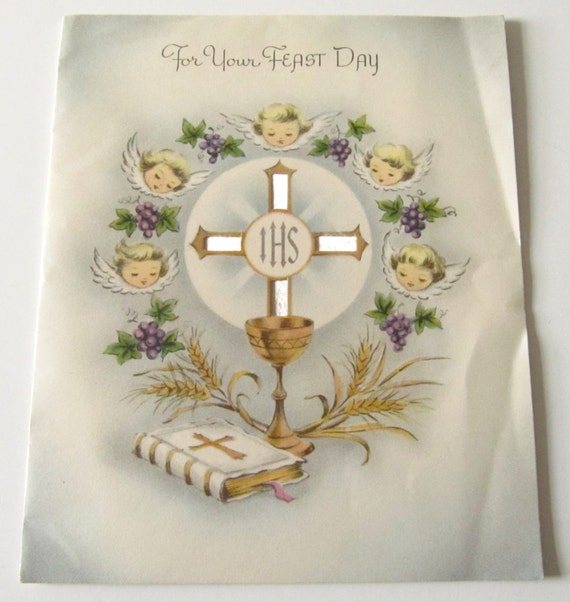 Vintage 1953 feast day greeting card to sister mary cyril nun like this item m4hsunfo Images
