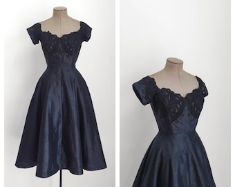 50s Black Fit and Flare Party Dress • 1950s Formal Couture Raw Silk Prom Dress • Full Skirt • Cap Sleeve • XS