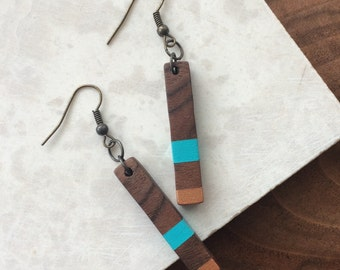 Rectangle Earrings - Wood Dangle Earrings - Wood Rectangle Earrings - Nature Wedding - Unique Wood Gifts - Hand Painted Earrings - Portland