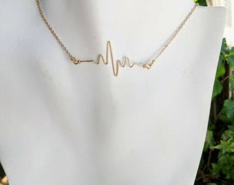Who does your Heart beat for - Heartbeat necklace - ekg - I wear your Heartbeat over my Heart - my Heart beats for you