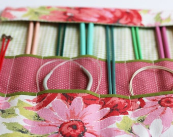 Knitting Needle Organizer, Knitting Needle Case, Knitting Accessory, Vintage Pink and Red Floral by Knotted Nest