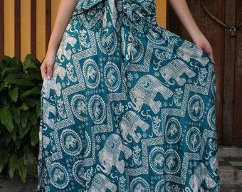 Boho Skirt Maxi Skirt Long Skirt Bohemian Skirt Bow Tie Floor Length Elephant Green