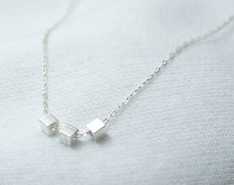 Tiny cubes necklace - geometric sterling silver chain - minimal delicate jewelry