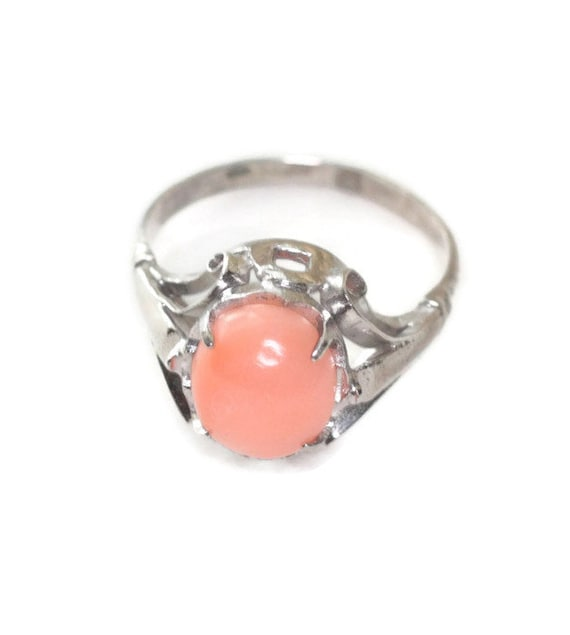 Coral and Sterling Silver Ring Fancy Victorian Setting Size 7  Vintage