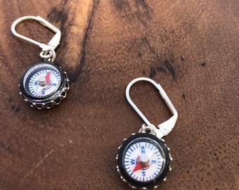 Compass Earrings , Travel Earrings , Compass Jewelry , Dangle Earrings , Silver Earrings , Nautical Earrings