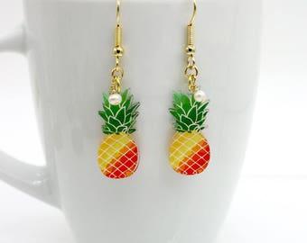 Pineapple Earrings, Fruit Earrings, Acrylic Pineapple Earrings, Freshwater Pearl, Pineapple Jewelry, Fruit / Food Jewelry, Kids Earrings