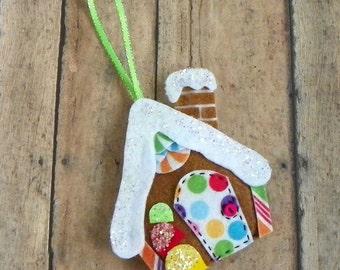 Gingerbread House Ornaments, Gingerbread Ornaments, Whimsical Felt Gingerbread House Christmas Tree Ornament